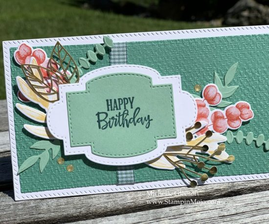 Stampin Up Forever Fern Slimline Birthday card ideas Mchelle Gleeson Stampinup SU