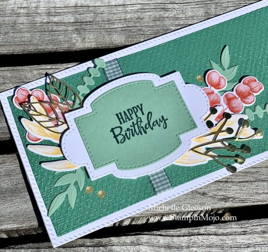 Stampin Up Forever Ferns Slimline card idea Birthday card idea Mchelle Gleeson Stampinup SU