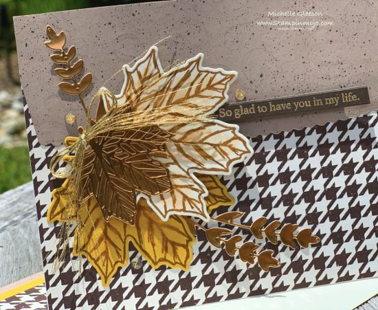 Stampin Up PALS August Blog Hop Gather Together Stamp Set Gilded Autumn DSP Gathered Leaves Dies Anytime Card Michelle Gleeson Stampinup SU
