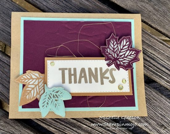 Stampin Up TheSpotChallenge#124 GDP#254 Gathered Leaves Dies Hot Foil Stamp Market Lots of Thanks Stamp Set Thank you card idea Michelle Gleeson Stampunup SU