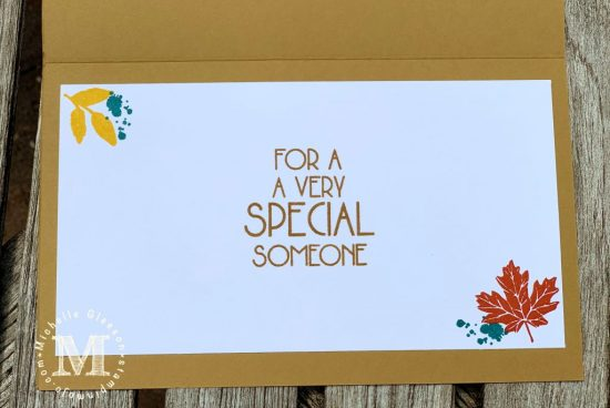 Concord & 9th Thankful Leaves Turnabout Poppy Stamps Birthday Blowout Masculine Birthday Card inside peek Michelle Gleeson copy
