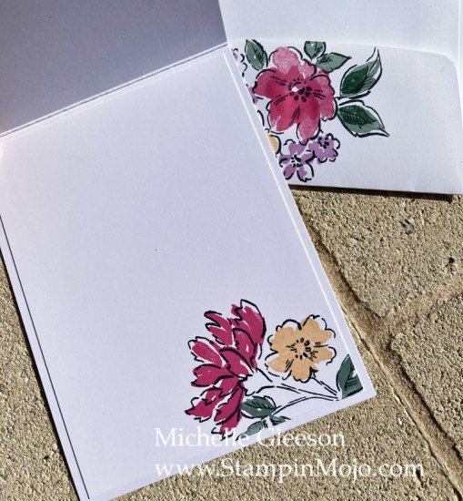 Stampin Up Sneak Peek Hand-Penned Petals Pansy Petals DSP Friendship Card Idea inside peek Michelle Gleeson Stampinup SU