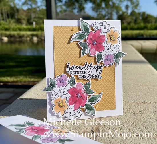 Stampin Up Sneak Peek Hand-Penned Petals Pansy Petals DSP Friendship Card Michelle Gleeson Stampinup SU