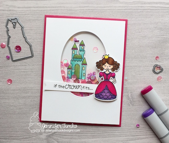 If The Crown Fits by Jen Timko | Once Upon a Princess Stamp and Dies by Newton's Nook Designs, Copic Coloring