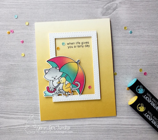 Rainy Day by Jen Timko | Newton's Rainy Day Stamp and Dies by Newton's Nook, Chameleon Pens, Chameleon Color Tops