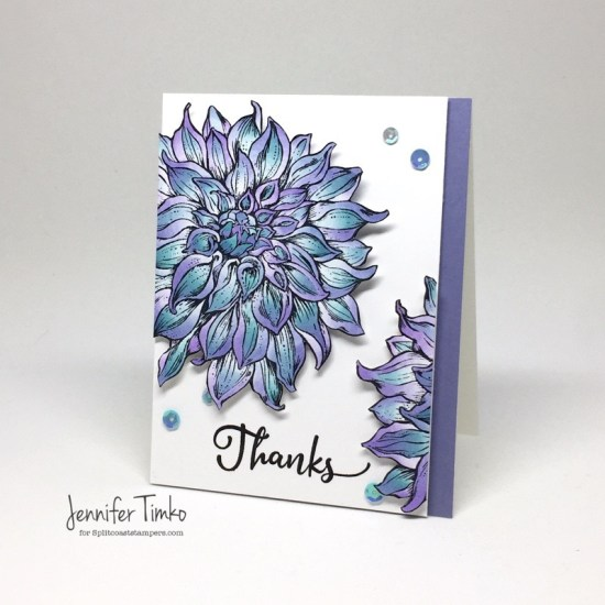 Color Tops Dahlia by Jen Timko | Dahlia XL Stamp by Power Poppy, Chameleon Pens, Chameleon Color Tops, Splitcoaststampers