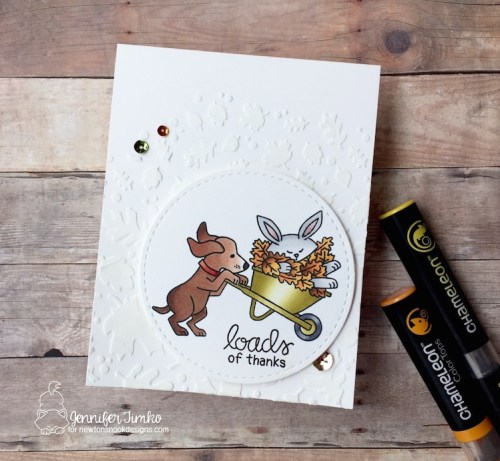 Fall Thanks by Jen Timko | Loads of Thanks Stamp Set by Simon Says Stamp and Newton's Nook Designs, STAMPtember, Falling Leaves Stencil by Newton's Nook Designs, Chameleon Color Tops, Chameleon Pens