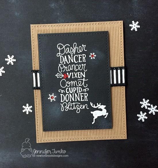 Reindeer Chalk Board by Jen Timko | Reindeer Roll Call Stamp Set by Newton's Nook Designs, Corrugated Paper, Chalk Board