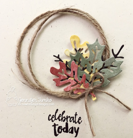 Celebrate Close Up by Jen Timko | Autumn Leaves Dies by Newton's Nook Designs, Happy Little Thoughts Stamp Set by Newton's Nook Designs, Jute Twine by Stampin' Up