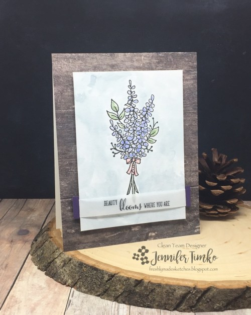 FMS317 by Jen Timko | Lots of Lavender Stamp Set by Stampin' Up, Friendship's Sweetest Thoughts Stamp Set by Stampin' Up, Tim Holtz Distress Ink, Wood Textures DSP by Stampin' Up