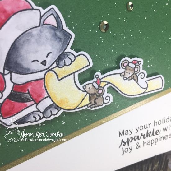 Santa's List Closeup by Jen Timko | Santa Paws Newton Stamp Set and Dies by Newton's Nook Designs