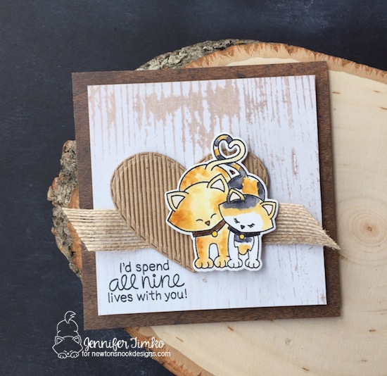 All Nine Lives by Jen Timko | Newton's Sweetheart Stamp Set and Dies by Newton's Nook Designs, Zig Clean Color Markers