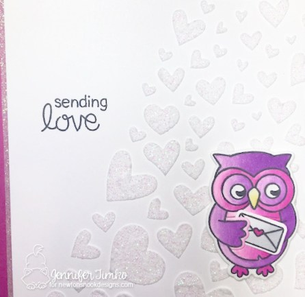 Sending Love Closeup by Jen Timko | Sending Hugs Stamp Set and Dies by Newton's Nook Designs, Shimmery White Embossing Paste by Stampin' Up, Tumbling Hearts Stencil by Newton's Nook Designs