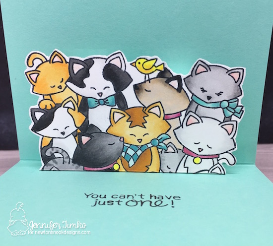 Cats Are Like Potato Chips Closeup by Jen Timko | Company of Cats Stamp Set by Newton's Nook Designs