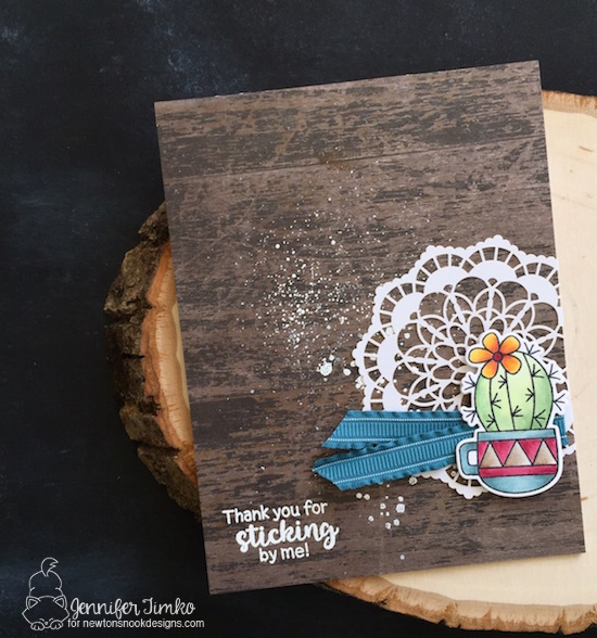 Thanks by Jen Timko | Cuppa Cactus Stamps and Dies by Newton's Nook Designs, Cultivated Cactus Stamp by Newton's Nook Designs, Wood Textures DSP by Stampin' Up