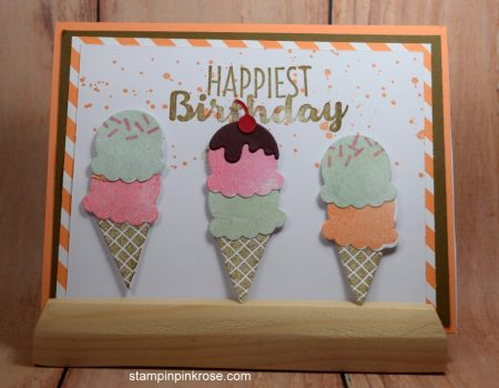 Stampin' Up! Birthday card made with Cool Treats stamp set and designed by Demo Pamela Sadler. See more cards at stampinkrose.com #stampinkpinkrose #etsycardstrulyheart
