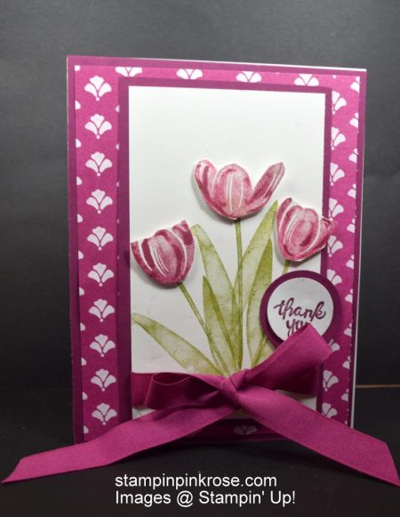 Stampin' Up! Thank You card made with Tranquil Tulips stamp set and designed by Demo Pamela Sadler. Brig some color into someone's life with these colorful tulips. See more cards at stampinkrose.com and etsycardstrulyheart