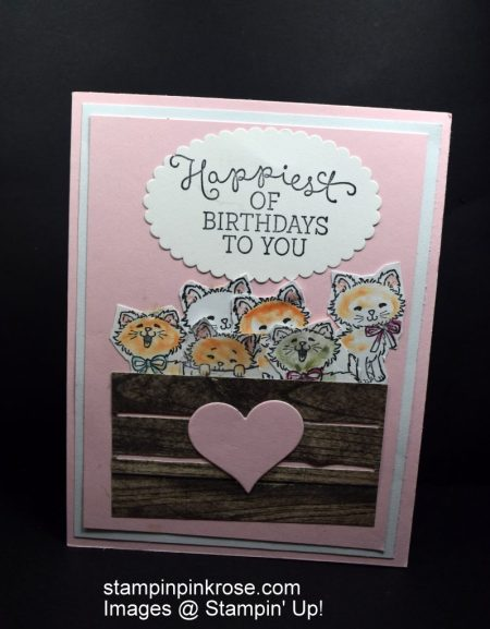 Stampin' Up! s Birthday card made with Pretty Kitty stamp set and designed by Demo Pamela Sadler. This card used a retired stamp set.. See more cards at stampinkrose.com and etsycardstrulyheart