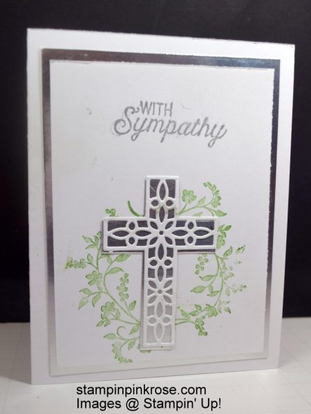 Stampin' Up! CAS Sympathy card with Hold on to Hope stamp set and designed by Demo Pamela Sadler. Use the beautiful cross to express your feelings. See more cards at stampinkrose.com #stampinkpinkrose #etsycardstrulyheart