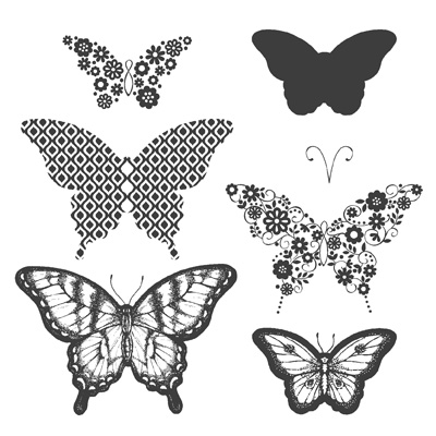 Papillon potpourri rubber stamps stampin up