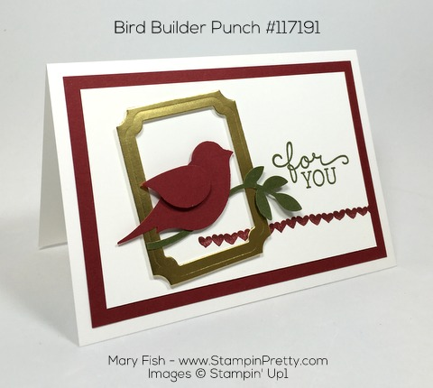 Stampin Up Bird Builder Punch Birthday Blooms Card By Mary Fish Pinterest