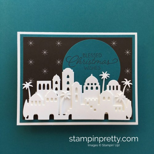 Learn how to create this simple Christmas card using Stampin' Up! Bethlehem Edgelits Dies - Create by Mary Fish