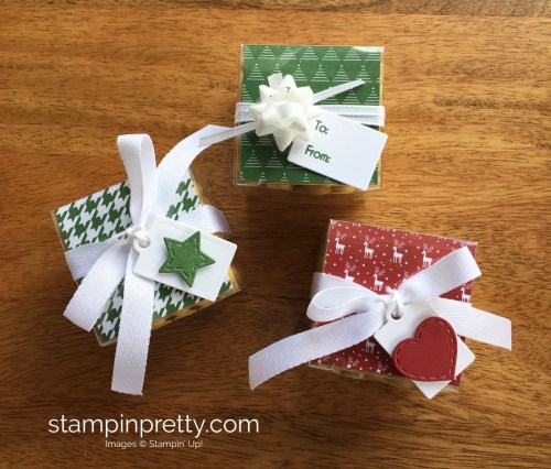 Stampin Up Clear Tiny Treat Box Holiday Idea - Mary Fish StampinUp
