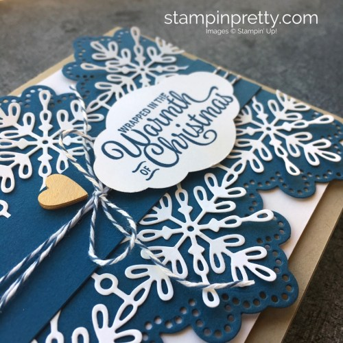 How to create a simple Christmas Card using Stampin' Up! Snowflake Sentiments & Swirly Snowflakes Thinlits - Mary Fish StampinUp Ideas