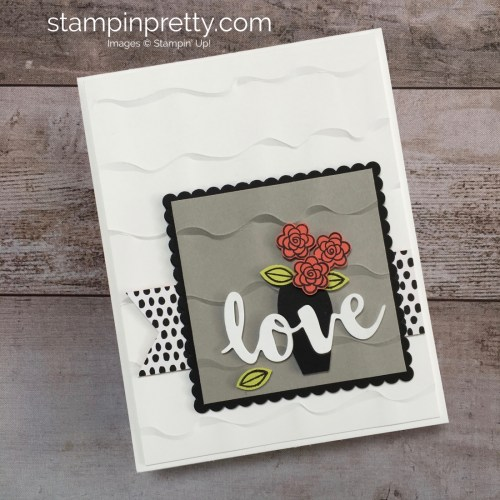 Create a simple love anniversary or wedding card using Varied Vases Stamp Set and Vase Builder Punch - Mary Fish StampinUp