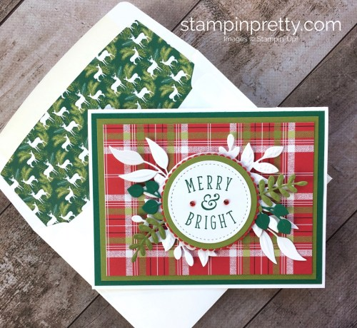 Create a holiday card using Stampin Up Foliage Frame Thinlits Dies - Mary Fish StampinUp Ideas