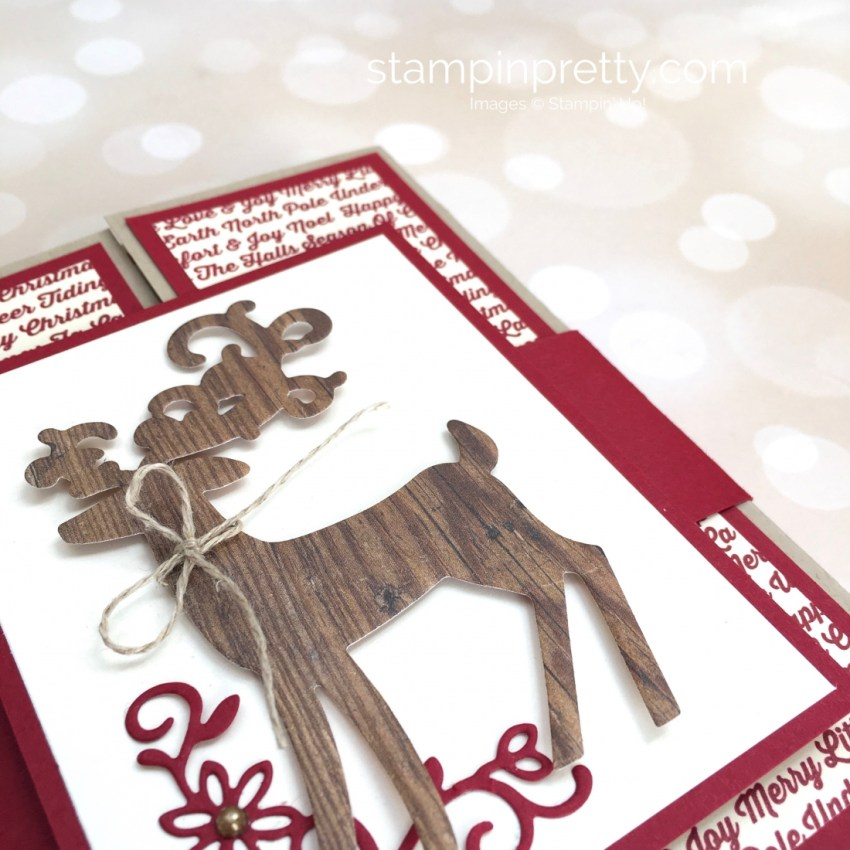 Create a fold holiday card and belly band using Stampin Up Detailed Deer - Mary Fish StampinUp woodgrain
