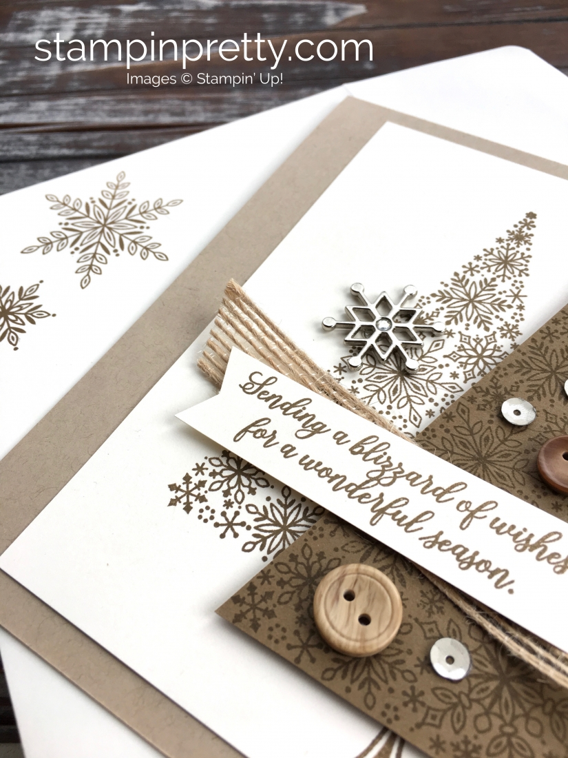 Create a holiday Christmas card using Stampin Up Blizzard of Wishes - Mary Fish StampinUp