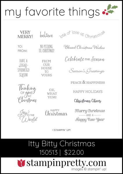 Mary Fish, Stampin' Pretty My Favorite Things 2019 Stampin' Up! Holiday Catalog - Itty Bitty Christmas Stamp Set