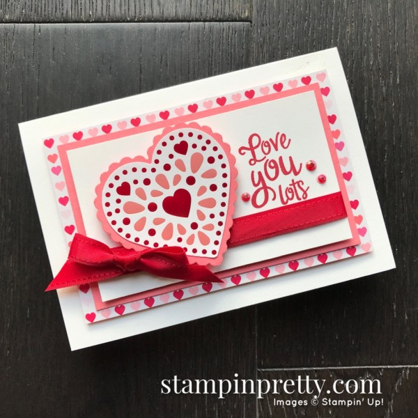 Sneak Peek From My Heart Suite from Stampin' Up! Valentine Note Card by Mary Fish, Stampin' Pretty