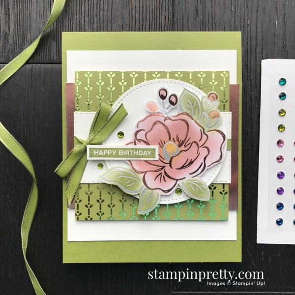 Flowering Foils Designer Series Paper by Stampin' Up! Earn FREE. Mary Fish, Stampin' Pretty
