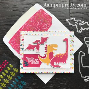Dinoroar Suite from Stampin' Up! Dino Days Bundle. RAWRsome Card by Mary Fish, Stampin' Pretty!