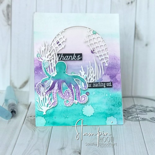 Sea of Textures Thank You Card Stesha Bloodhart Stampin' Hoot!