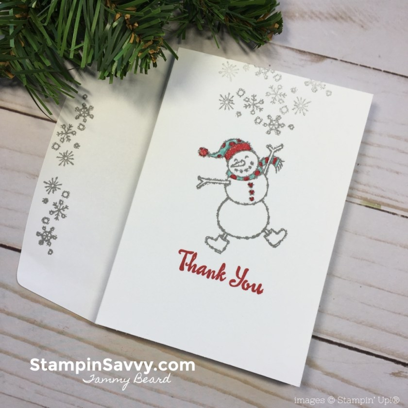 Quick DIY Thank You Cards, spirited snowmen, petal passion note cards, stampin up, stampin savvy, tammy beard