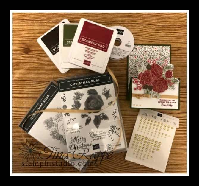 Stampin' Up! Christmastime is Here Suite, Christmas Rose stamp set, Fun Fold, z-Fold Easel Card, Stampin' Studio