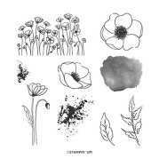 PAINTED POPPIES CLING STAMP SET