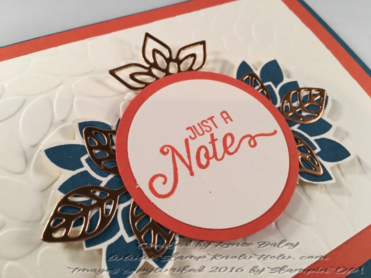 Closeup Image of notecard featuring Flourish thinlit in copper foil