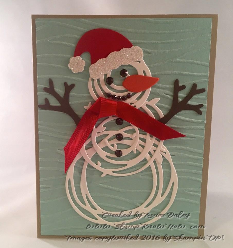 Swirly snowman with Santa hat