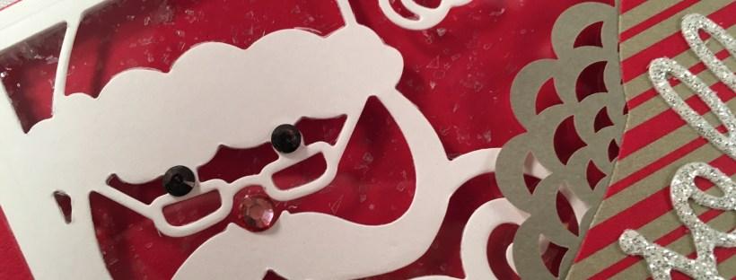 Closeup of Jolly Santa card