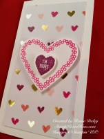 Decorated narrow note card Valentine