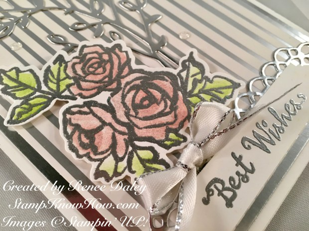 Pink roses image used on handmade wedding card uses the Petal Palette Stamp Set from Stampin' Up's Occasions catalog 2018