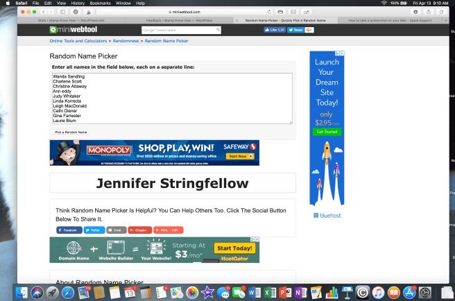Screen shot of winner chosen by Random Name Picker