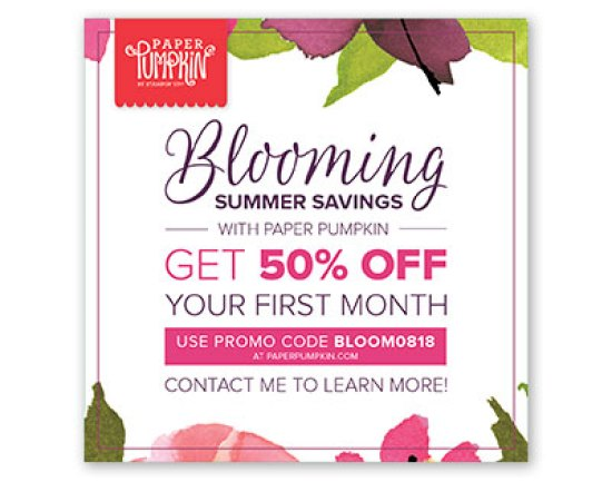 Get 50% off your first month of Paper Pumpkin subscription from Stampin' UP