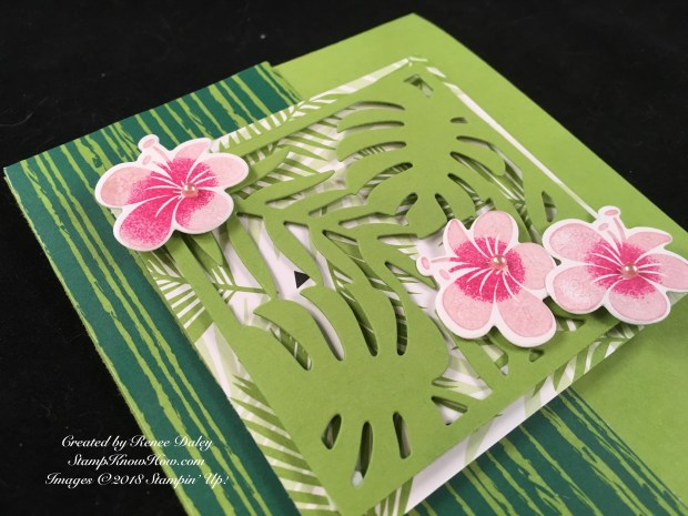 Close up view of the Tropical Chic Birthday Card