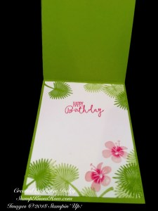Image of the inside of the Tropical Chic Birthday Card