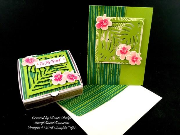 Tropical Chic Birthday Card & Matching Pizza Box